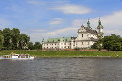 Church on the Skalka and Vistula boulevards in old town in Krakow Royalty Free Stock Image