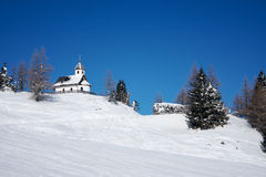 Church on the ski slope. Royalty Free Stock Images