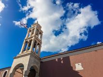 Church in skiathos greece. With beautiful blue sky and white clouds. 26 september 2018 stock photo