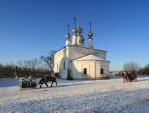 Church and sledge Stock Photos