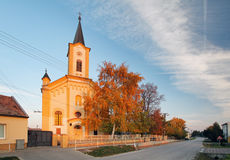 Church in Slovakia village Jablonec at autumn Royalty Free Stock Photo