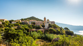 Church in small Corsica town. Sea royalty free stock images