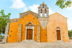 Church in small cretan village Kavros in Crete  island, Greece. Travel Background Royalty Free Stock Photo
