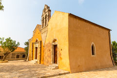 Church in small cretan village Kavros in Crete  island, Greece. Travel Background Royalty Free Stock Images
