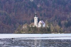 The church on the small islad of Bled lake royalty free stock photography