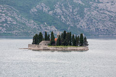 Church on Small Island in Kotor Bay Stock Photography