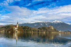 Church on a small island on lake Bled stock images