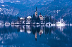 Church on a small island at lake Bled, Slovenian Alps Stock Photos