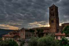 Church in small Provencal town Moustiers-Sainte-Marie, France Stock Images