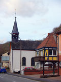 Church in small town. Stone church in small town Germany Royalty Free Stock Photo