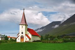 The Church in the small town of Iceland Stock Images