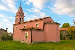 Church in small village Nova vas. Slovenian Karst Royalty Free Stock Images