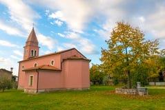 Church in small village Nova vas. Slovenian Karst Stock Images