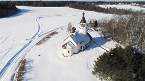 The Church of the Smolensk icon of the Mother of God in the village Podolino, Moscow region, Russia. Aerial view of The Church of the Smolensk icon of the Mother royalty free stock photo