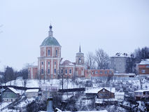Church in Smolensk. View of Trinity Monastery in Smolensk winter Royalty Free Stock Images