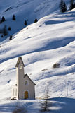Church on snow. Church in a mountain landscape with show - Dolomites - Italy 2007 Royalty Free Stock Image