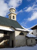 Church and snow. A picture of a little church in a mountain day of snow Stock Photography