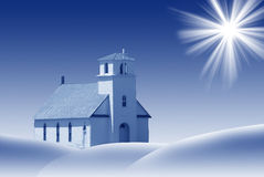 Church in the Snow. Illustration of a small church in the winter snow in shades of blue Royalty Free Stock Photography