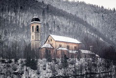 Church in the snow. In Domodossola royalty free stock photos