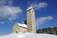 Church with snow in Italy Stock Photo
