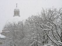 church snowfall Stock Photo