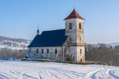 The church in snowy landscape Stock Image