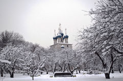 The Church in a snowy park. Stock Images