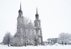 Church on a Snowy Winter scene Stock Photo