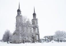 Church on a Snowy Winter scene stock photo