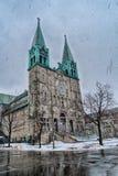 Church on a Snowy Winter scene Stock Image