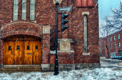 Church on a Snowy Winter scene Royalty Free Stock Photography