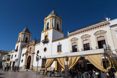 Church of Socorro and Plaza in Ronda, Spain Stock Images