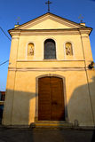 Church  in  the somma lombardo old   closed brick tower sidewal Royalty Free Stock Photo