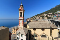 Church in Sori, Italy. The church and the village of Sori, small town in Liguria, Italy Royalty Free Stock Photography