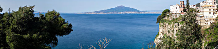 Church in Sorrento coast, Naples. Italy. Photographs of the Gulf of Naples and Mount Vesuvius Stock Photos
