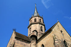 Church of Soultz in Alsace. Church bell tower of the collegiate church of Soultz Stock Photography