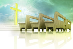 Church space with golden cross and wooden bench. Holy heavens church space with golden cross and wooden bench on blue sky background with divine glow Royalty Free Stock Image