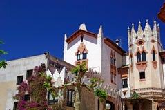 Church in spanish mediterranean town. Church with beautiful architecture and garden. Lloret de Mar, Costa Brava, Spain Royalty Free Stock Photos