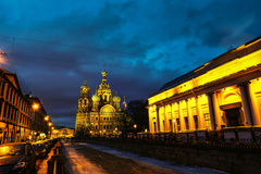 Church on Spilled Blood with dark sky in Saint Petersburg, Russia Stock Photo