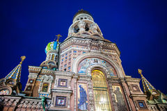 Church on Spilled Blood in Saint Petersburg. Russia. One of the most beautiful churches in Russia is among main tourist attractions of Saint-Petersburg. Night Royalty Free Stock Image