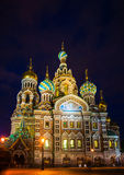 Church on Spilled Blood in Saint Petersburg. Russia. One of the most beautiful churches in Russia is among main tourist attractions of Saint-Petersburg. Night Stock Photo