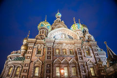 Church on Spilled Blood in Saint Petersburg. Russia. One of the most beautiful churches in Russia is among main tourist attractions of Saint-Petersburg. Night Royalty Free Stock Photography