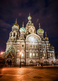 Church on Spilled Blood in Saint Petersburg. Russia. One of the most beautiful churches in Russia is among main tourist attractions of Saint-Petersburg. Night Stock Photos