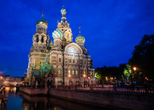Church on Spilled Blood in Saint Petersburg. Russia. One of the most beautiful churches in Russia is among main tourist attractions of Saint-Petersburg. Night Royalty Free Stock Images