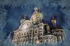 Church on Spilled Blood in Saint Petersburg, Russia. One of the most beautiful churches in Russia. Vintage painting, background illustration, beautiful picture Stock Image