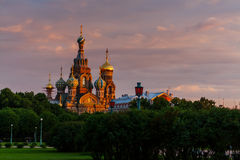 Church on Spilled Blood in Saint Petersburg. At sunset Stock Images