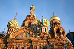 Church On Spilled Blood, St. Petersburg. Early evening photo of cupolas on the Church on Spilled Blood in Saint Petersburg AKA Church-of- Our- Saviour built on Stock Image