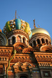Church On Spilled Blood, St. Petersburg. Early evening photo of cupolas on the Church on Spilled Blood in Saint Petersburg AKA Church-of- Our- Saviour built on Royalty Free Stock Photo