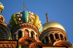 Church On Spilled Blood, St. Petersburg. Early evening photo of cupolas on the Church on Spilled Blood in Saint Petersburg AKA Church-of- Our- Saviour built on Stock Images