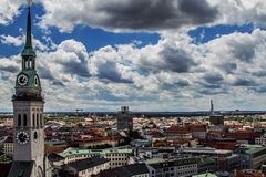 Church spire over Munich, Germany Stock Image